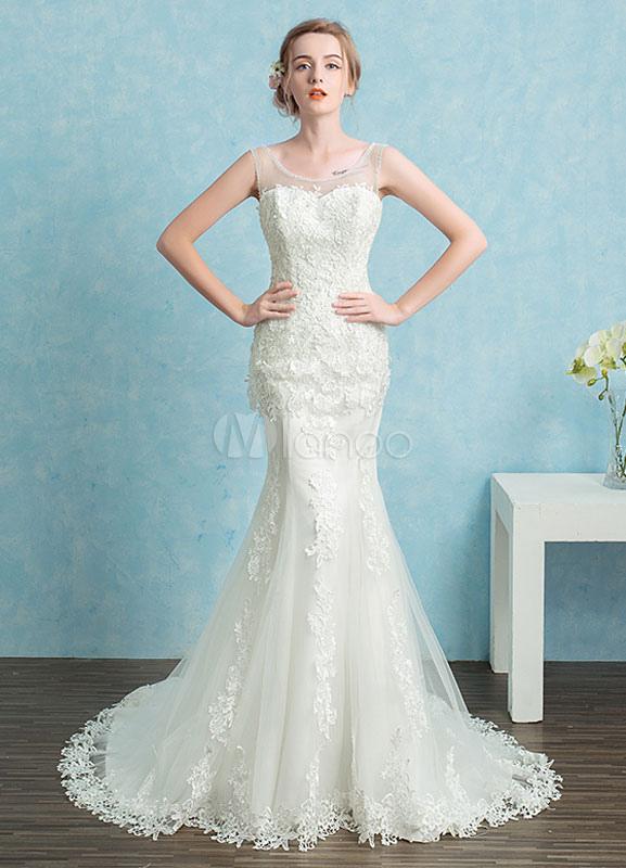 Sirena Vestido encaje rebordear vestido de novia blanco sin espalda ...