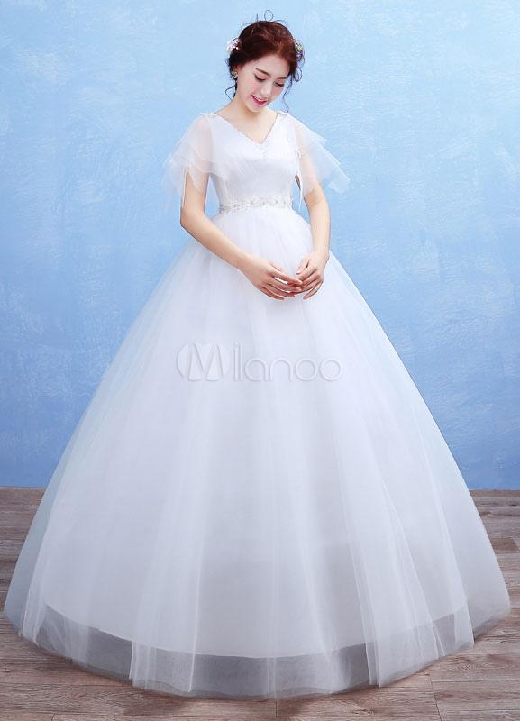 Maternity Wedding Dress Tulle V Neck Maxi Bridal Gown Empire Waist ...
