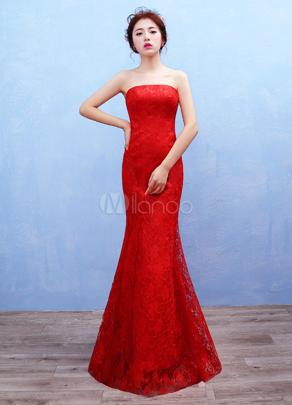 Boho boda vestido de encaje sin tirantes vestido de Novia de Maxi ...