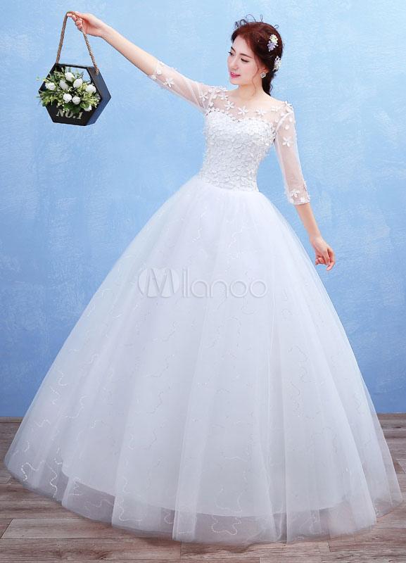 9d14354d2fafe ... ボールガウンウェディングドレス ホワイト スクープネック フロアレングス ナチュラルウェストライン プリンセスライン 七 ...