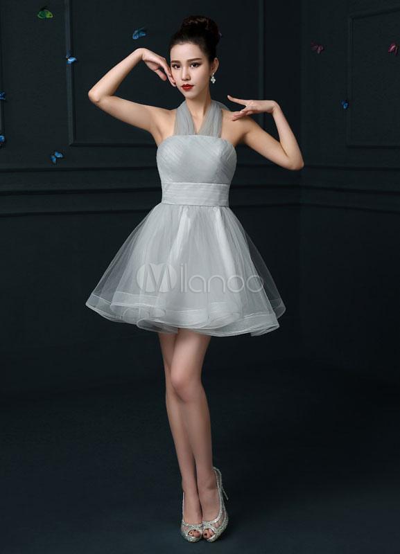 854359a084b Halter Tulle Cocktail Dress Light Grey Homecoming Dress Draped A Line Mini  Prom Dress-No ...