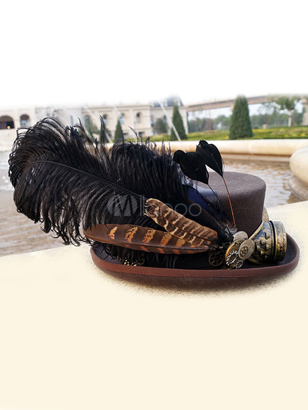 Buy Vintage Steampunk Costume Hat Feather Retro Costume Accessories With Goggle Halloween for $134.99 in Milanoo store