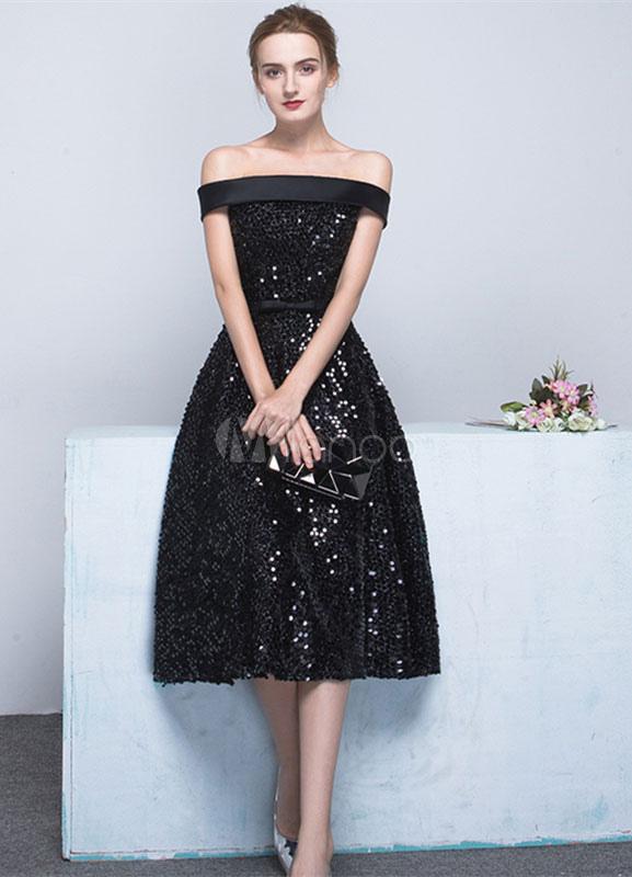 cc3026fa66f8 Vestido elegante de cóctel negro con escote de hombros caídos sin mangas  con faja