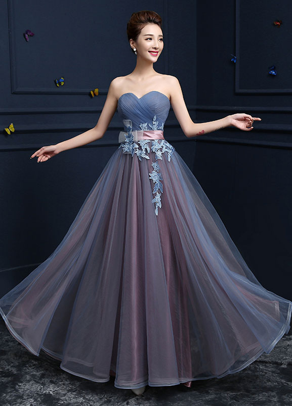 Sweetheart Evening Dresses Strapless Tulle Prom Dresses A Line Floor Length Lace Up Applique Party Dresses With Sash
