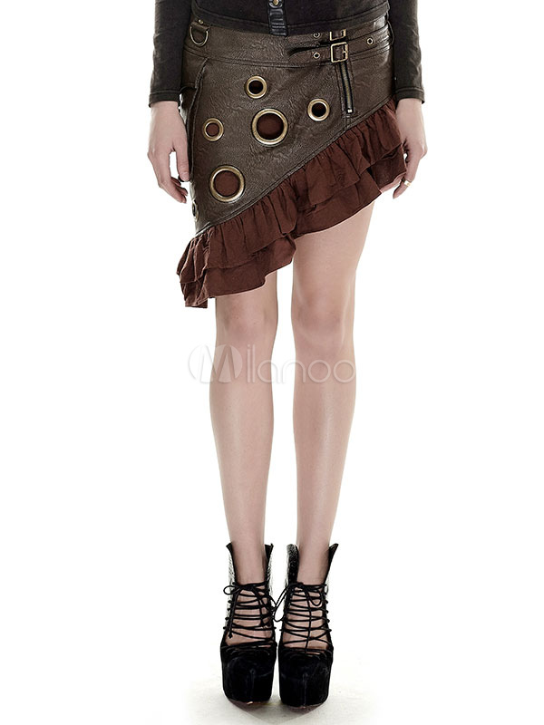 Buy Women's Steampunk Skirt Vintage Retro Costume PU Ruffle Asymmetrical Skirt Halloween for $154.79 in Milanoo store