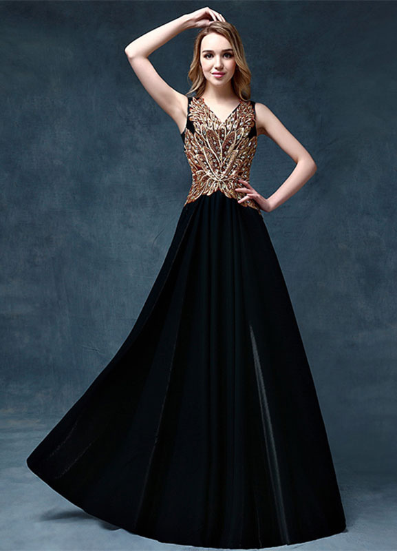 Black Evening Dress Beading Applique Mother Of The Bride Dress V Neck Sleeveless A Line Floor Length Wedding Guest Dresses