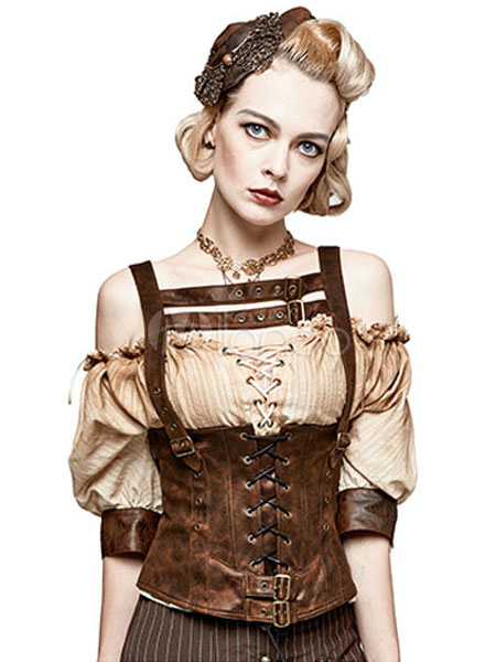 Buy Women's Steampunk Cincher Vest Vintage Gothic Costume PU Waist Training Gilet Halloween for $172.99 in Milanoo store
