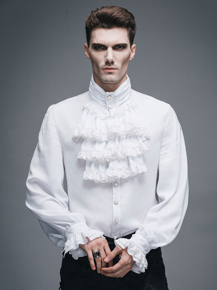 Buy Men's Steampunk Shirt White Ruffle Vintage Retro Costume Top Halloween for $124.99 in Milanoo store