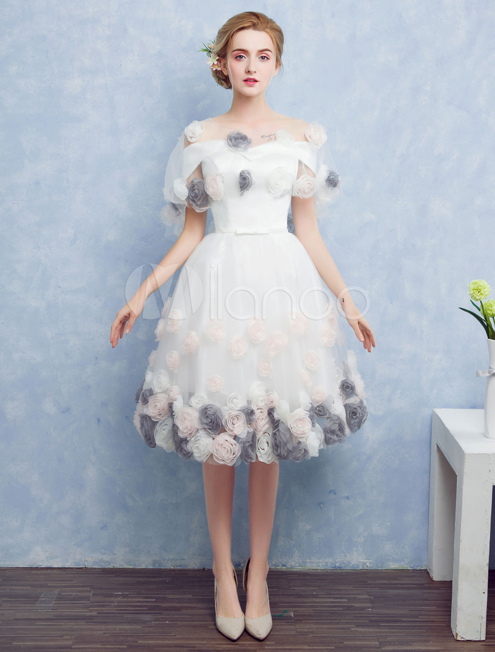 7df8464c2 White Prom Dresses 2019 Short Off The Shoulder Prom Dress Tulle 3D Flower A  Line Knee Length Homecoming Dress With Detachable Cape - Milanoo.com