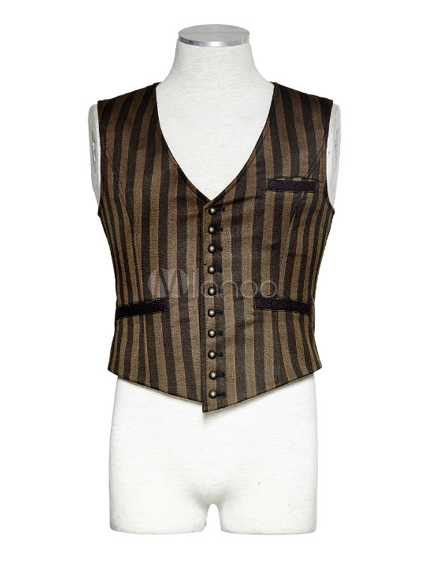 Buy Men's Steampunk Vest Vintage Retro Costume Stripe Button Gilet Halloween for $183.99 in Milanoo store