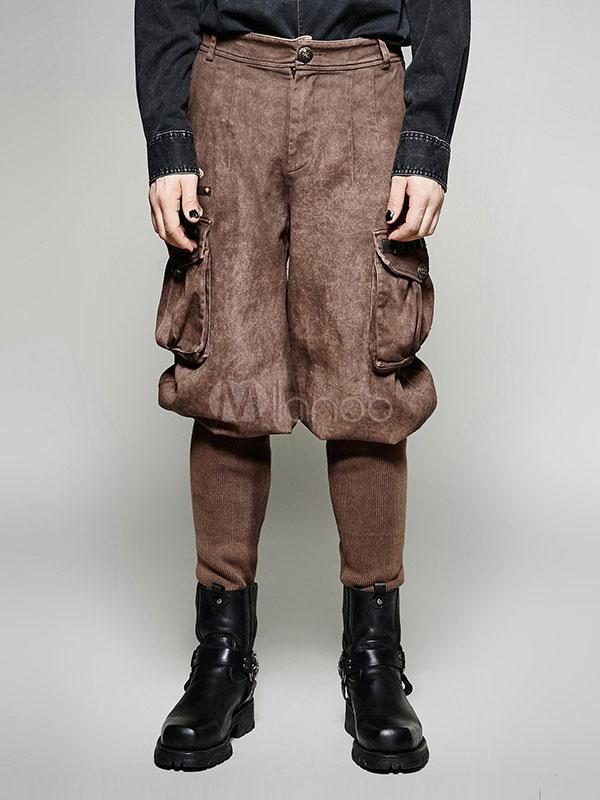 Herren Steampunk Hose Vintage viktorianischen Kostüm Hose Halloween