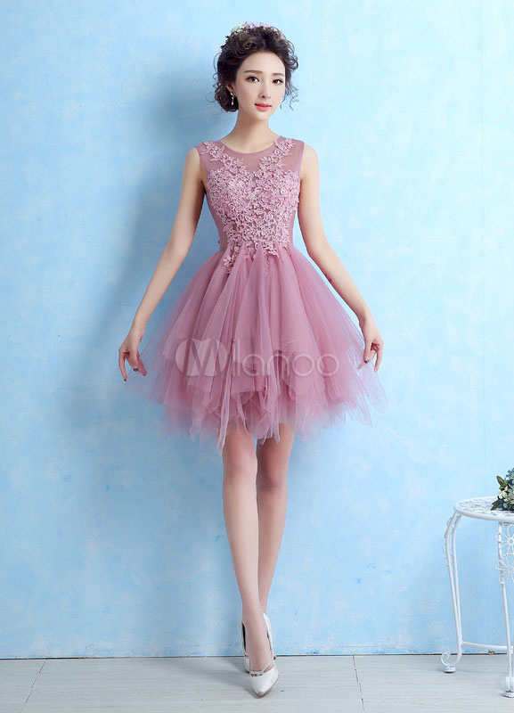 2475963640 Tulle Cocktail Dress Illusion Lace Applique Prom Dress Cameo Pink  Sleeveless Tiered Homecoming Dress-No ...
