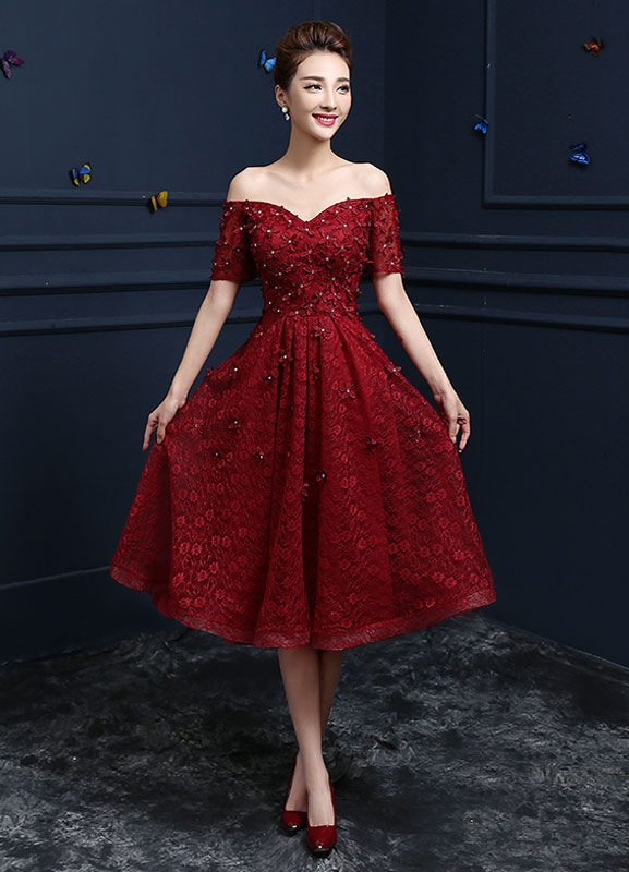 Buy Lace Cocktail Dress Burgundy Flower Beading Prom Dress Off The Shoulder Sweetheart Short Sleeve A Line Knee Length Party Dress for $83.99 in Milanoo store