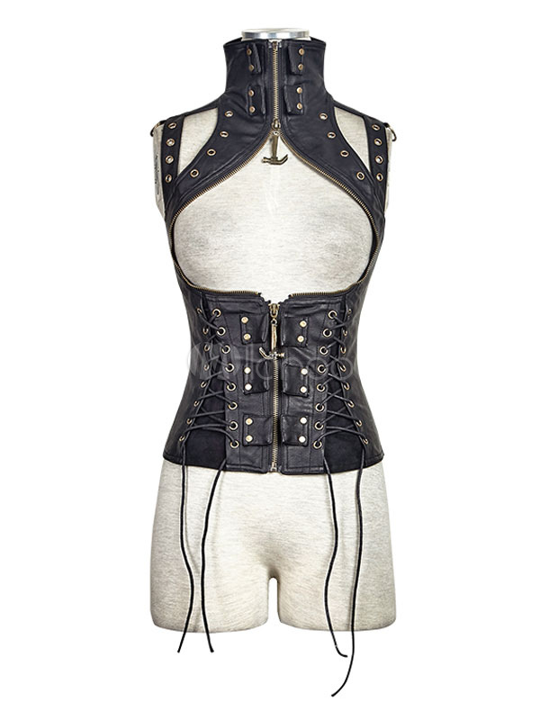 Buy Women's Steampunk Clothing Vintage Gothic Renaissance Costume PU Vest Jacket Halloween for $209.69 in Milanoo store