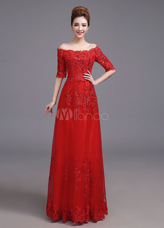 Buy Lace Evening Dress Red Off The Shoulder A Line Mother Of The Bride Dress Half Sleeve Floor Length Wedding Guest Dresses for $114.39 in Milanoo store