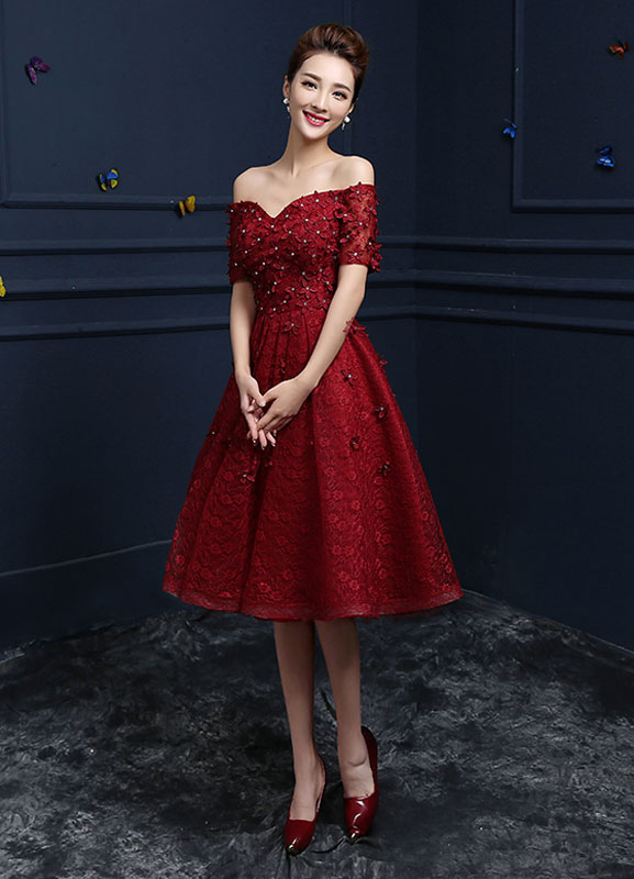 78e81fe20ab ... Lace Cocktail Dress Burgundy Flower Beading Prom Dress Off The Shoulder  Sweetheart Short Sleeve A Line ...
