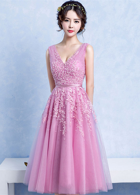 Buy Tulle Cocktail Dress Applique Beading Backless Prom Dress Fuchsia Pink V Neck Sleeveless A Line Tea Length Graduation Dress for $118.79 in Milanoo store