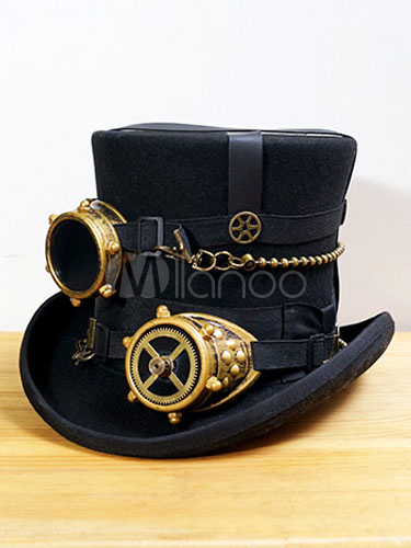 Buy Steampunk Top Hat Black Vintage Chain Retro Costume Accessories With Goggle Halloween for $143.99 in Milanoo store