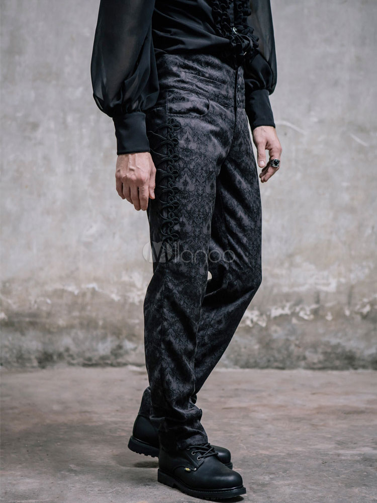 Buy Men's Steampunk Pants Black Vintage Retro Costume Jacquard Pants Halloween for $114.94 in Milanoo store