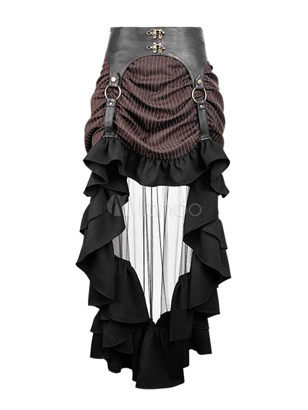 ... Women s Steampunk Skirt Vintage Victorian Gothic Costume Ruffle High  Low Skirt ... fe681be7b81