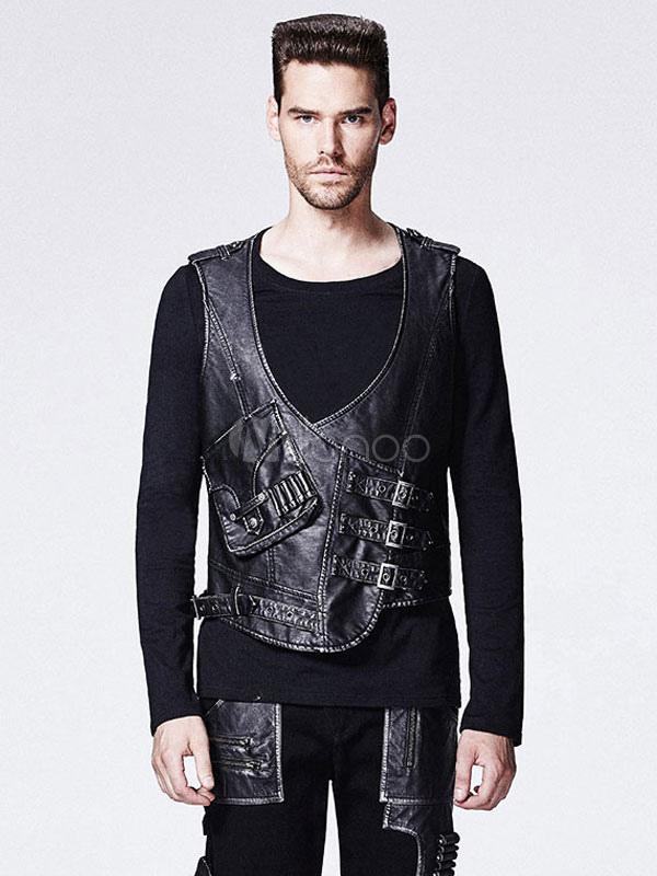 Buy Men's Steampunk Vest Vintage Retro Costume Black PU Gilet Halloween for $174.79 in Milanoo store
