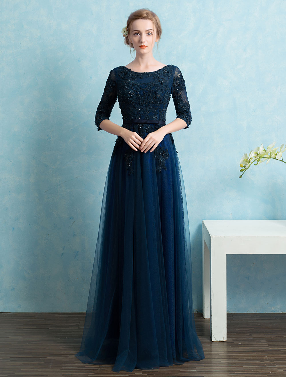 Buy Lace Evening Dresses Tull A Line Floor Length Mother Of The Bride Dresses Backless Beading Applique Half Sleeve Belted Wedding Guest Dresses for $123.19 in Milanoo store
