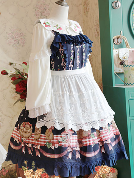 Buy Sweet Lolita Apron White Lace Cotton Lolita Clothing for $13.49 in Milanoo store