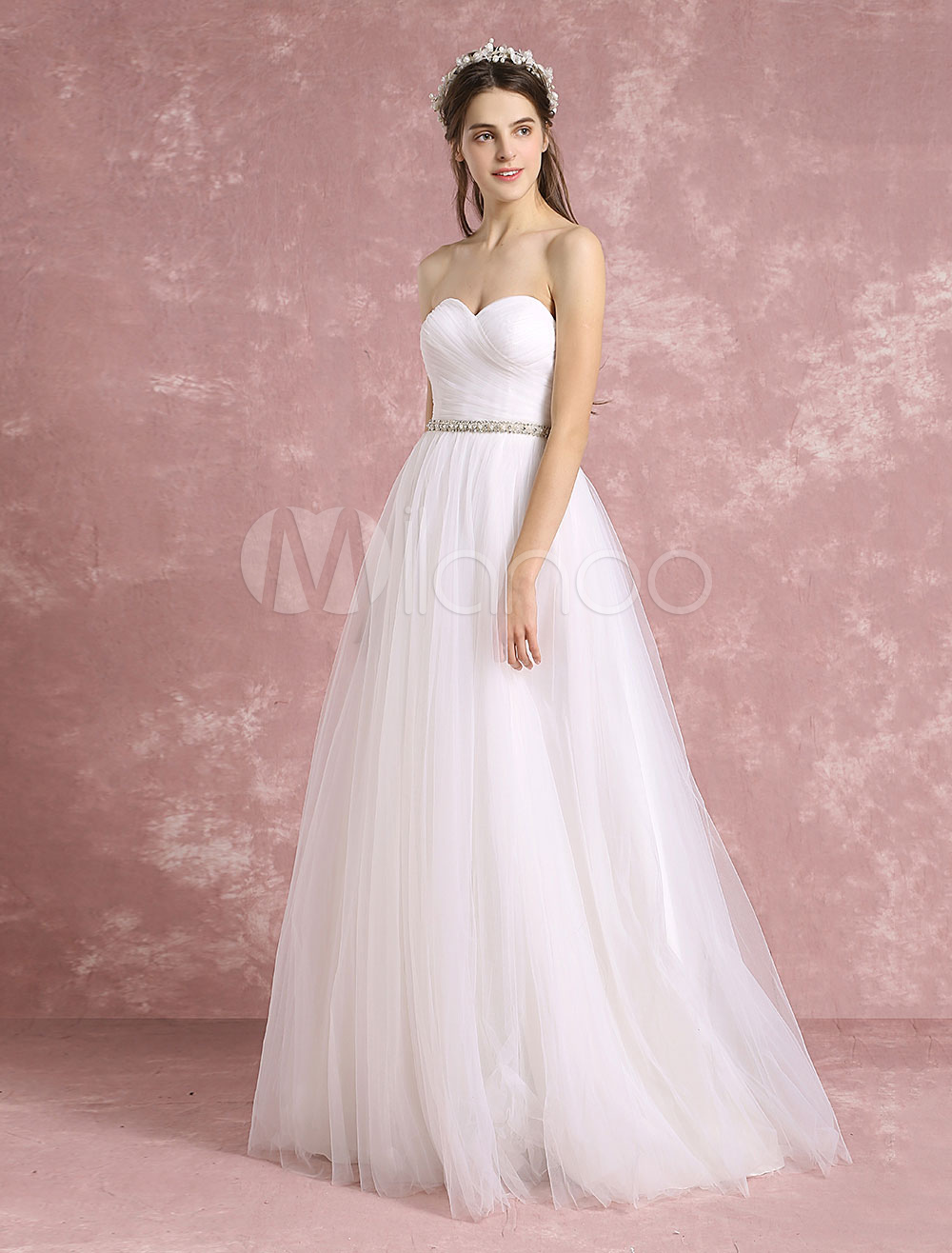 Buy Summer Wedding Dresses 2018 Boho Backless Bridal Gown Sweetheart Strapless Tulle Beaded A Line Maxi Bridal Dress for $152.99 in Milanoo store