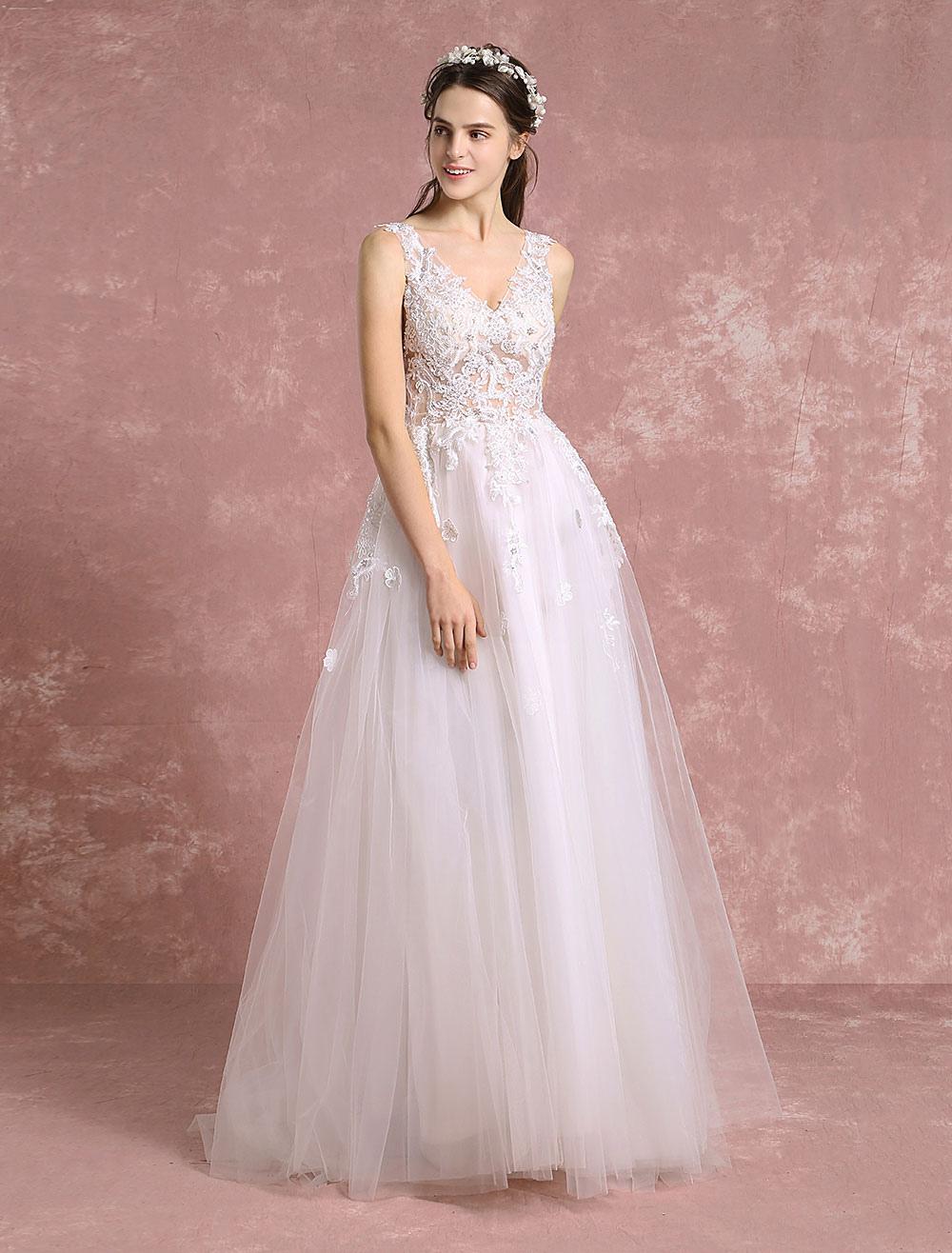 Summer Wedding Dresses 2018 Tulle Boho Bridal Gown V Neck Beading ...