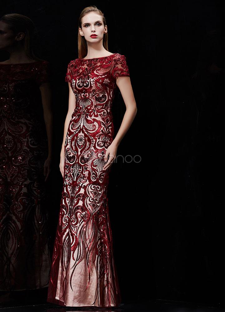 Mermaid Evening Dress Burgundy Embroidered Formal Dress Sequin Backless Bateau Short Sleeve Maxi Reception Dress Wedding Guest Dress