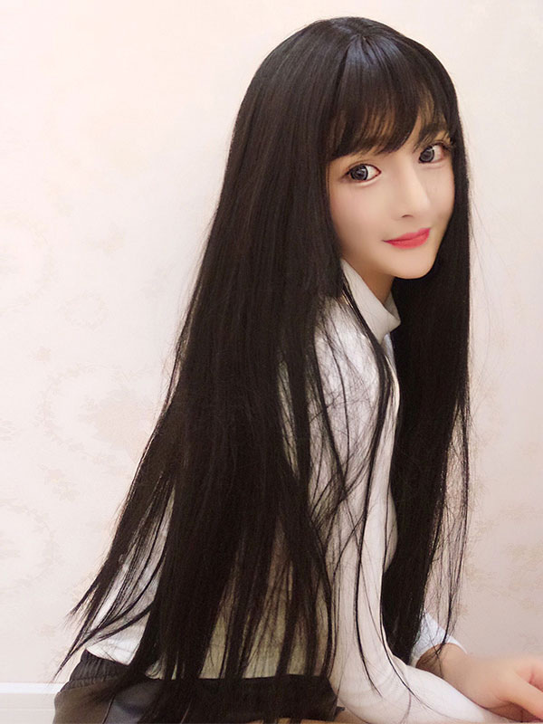 Buy Sweet Lolita Wigs Long Straight Black Synthetic Hair Wigs With Bangs for $18.89 in Milanoo store