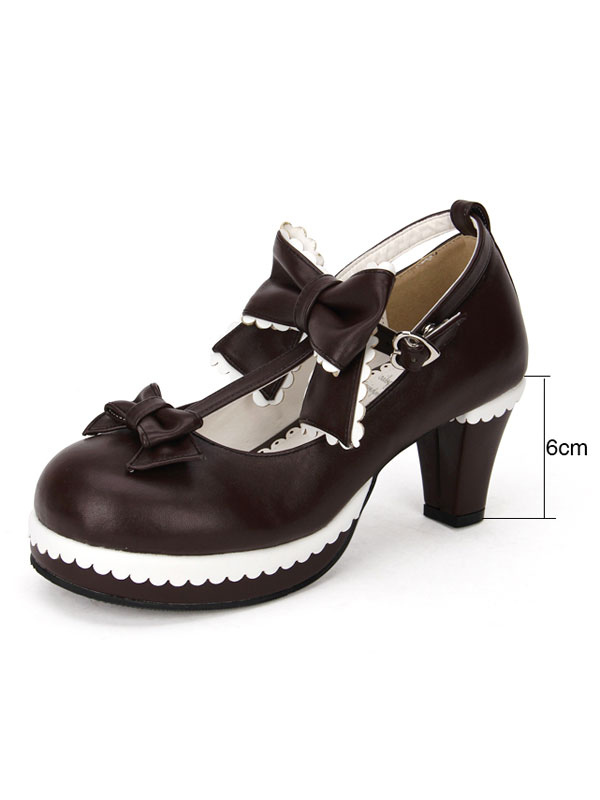 brown lolita shoes round toe t strap cute lolita shoes wit