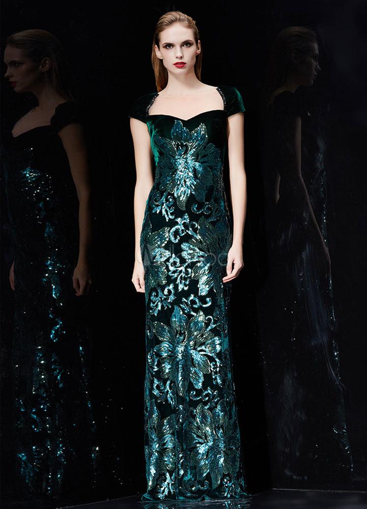 Sequin Evening Dress Velvet Mermaid Backless Formal Dress Hunter ...