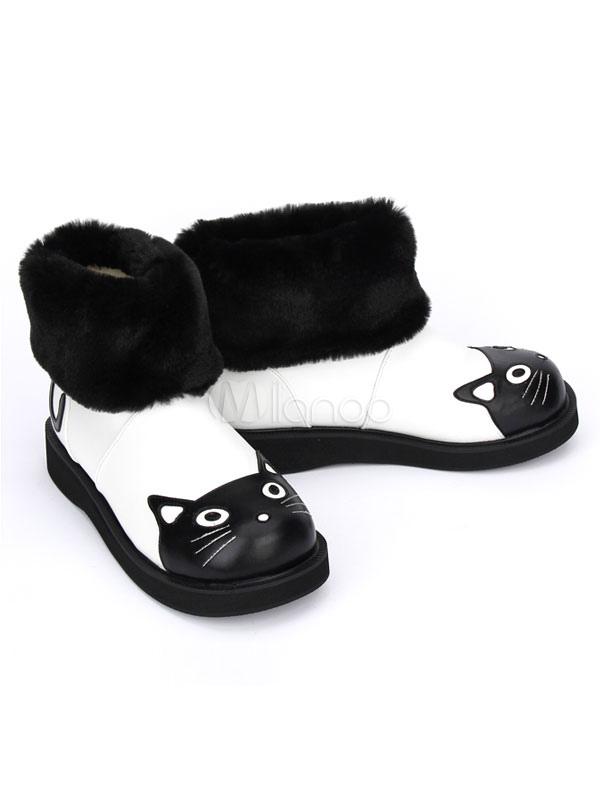 Botas de Lolita Faux Fur patrón de gato blanco y negro botas de invierno para Lolita rDq7lvU55v