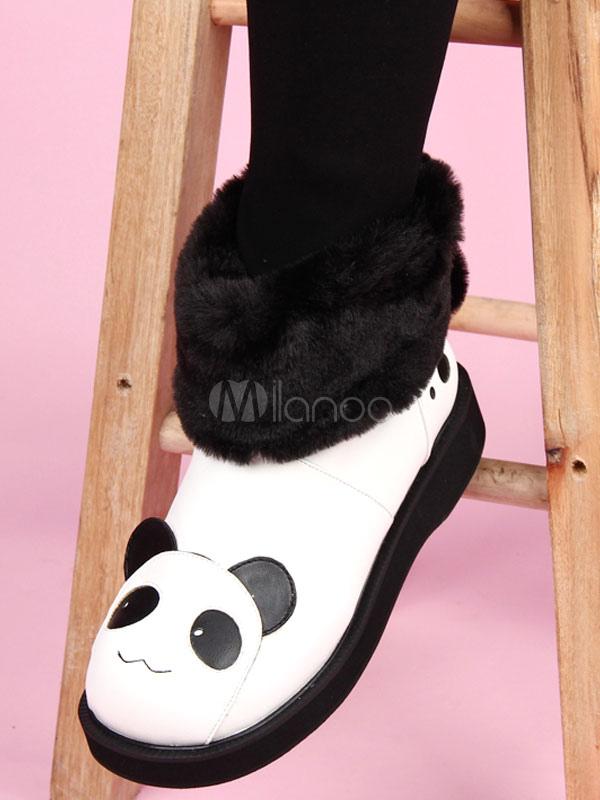 Botas de Lolita Kawaii Panda Oído Faux Fur Top Lolita Zapatos W9djfRTM2v