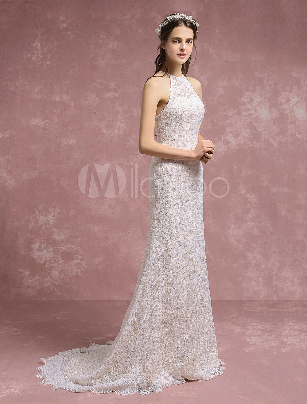 ca18273c6b03 Summer Wedding Dresses 2019 Lace Boho Mermaid Bridal Gown Halter ...