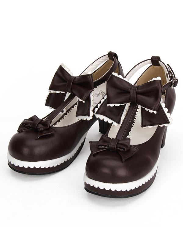 Zapatos marrón de Lolita Zapatos De Lana Roja Lápiz Lápiz Con Arco UyVm5OLdU