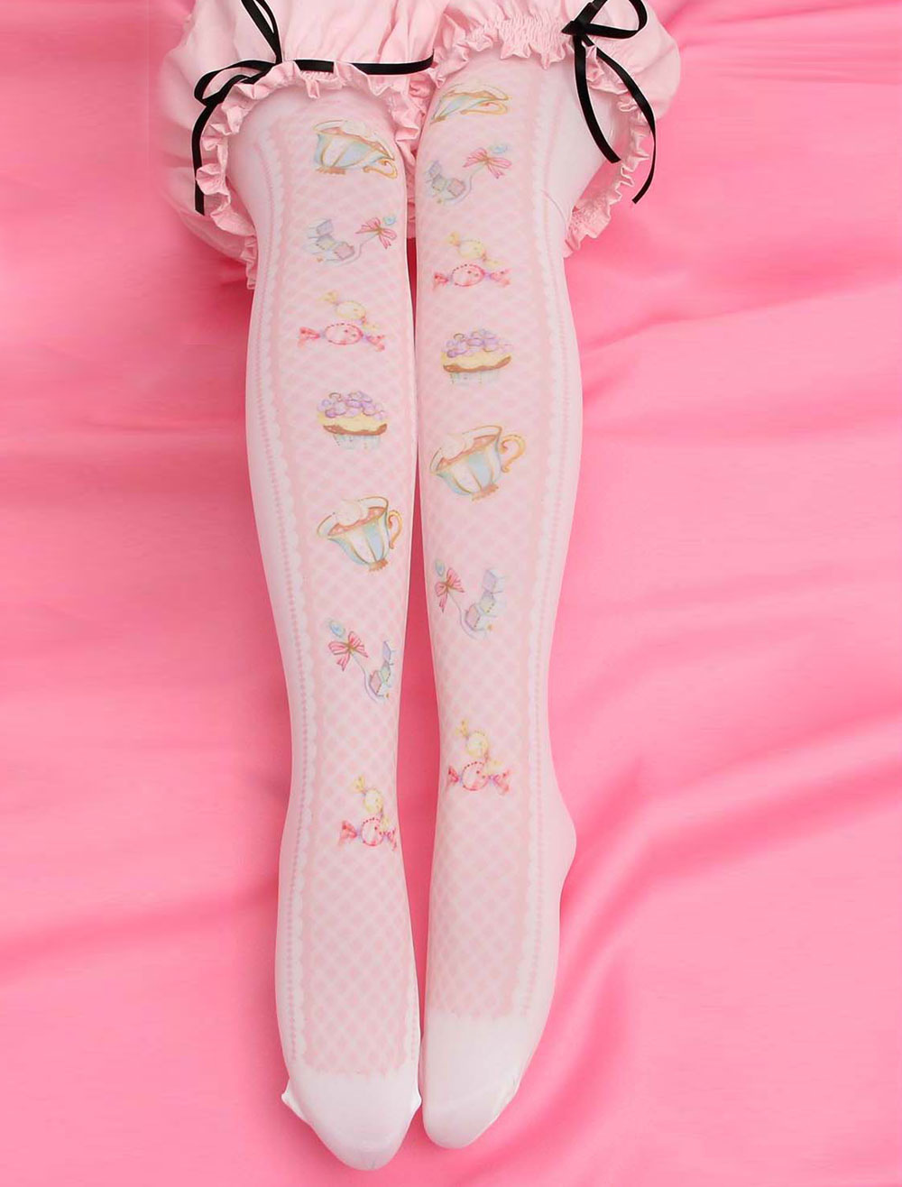 Buy Sweet Lolita Stockings Pink Printed Lolita Knee High Socks for $4.99 in Milanoo store