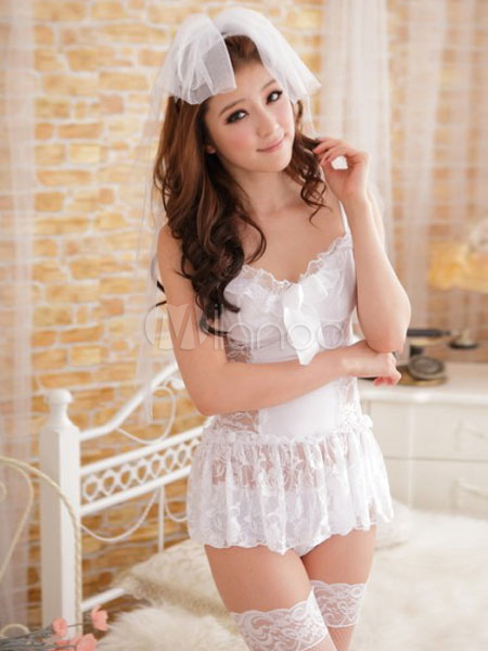Buy Halloween Bride Costume Sexy Women's White Tulle Ruffle Lace Up Short Wedding Dress Costume Outfit Halloween for $11.69 in Milanoo store