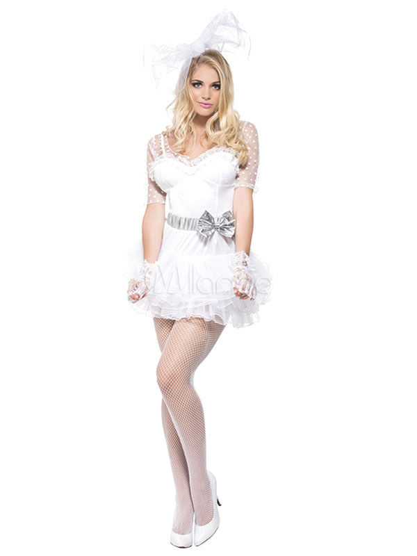 Buy Halloween Bride Costume Sexy White Illusion Short Sleeve Bow Sash Bridal Wedding Dress Costume Outfit Halloween for $34.03 in Milanoo store