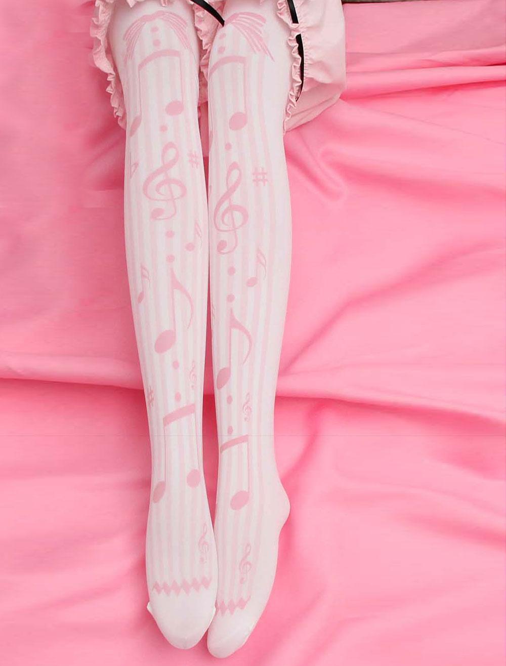 Sweet Lolita Socks Pinks Music Note Printed Lolita Stocking