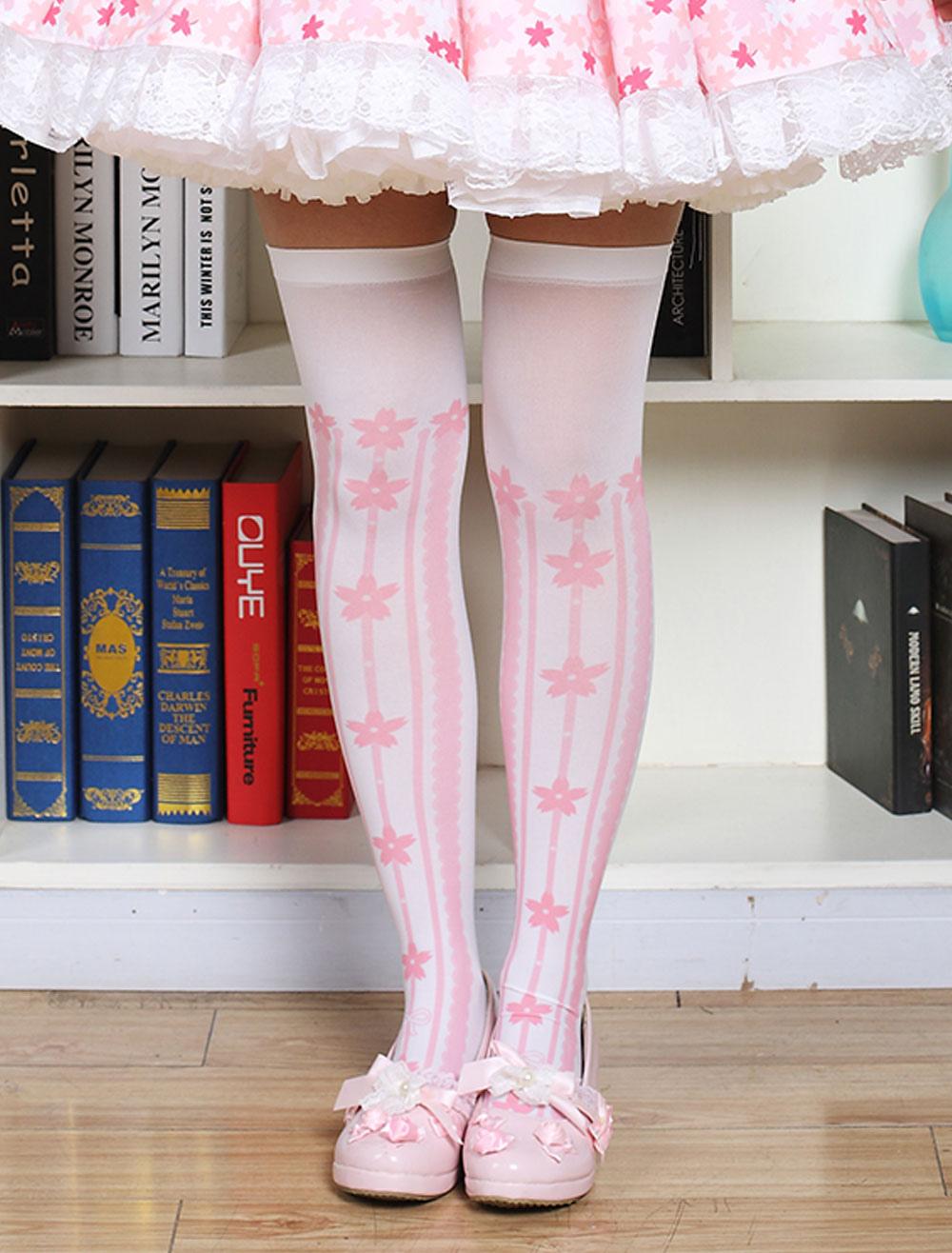 Buy Sweet Lolita Stockings Printed Lolita Knee High Socks for $4.59 in Milanoo store