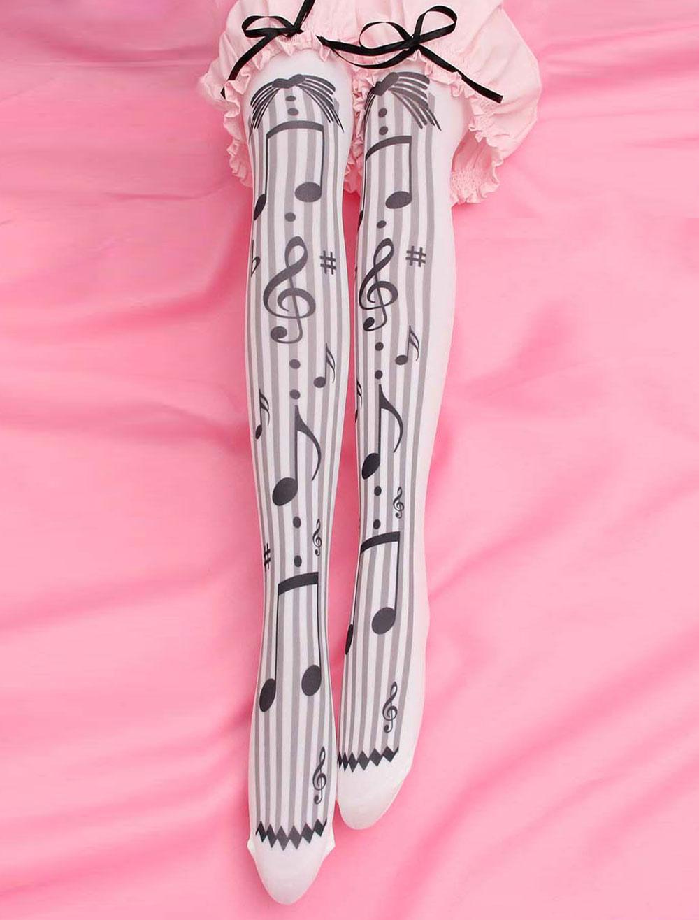 Buy Sweet Lolita Socks Black Music Note Printed Lolita Stocking for $4.99 in Milanoo store