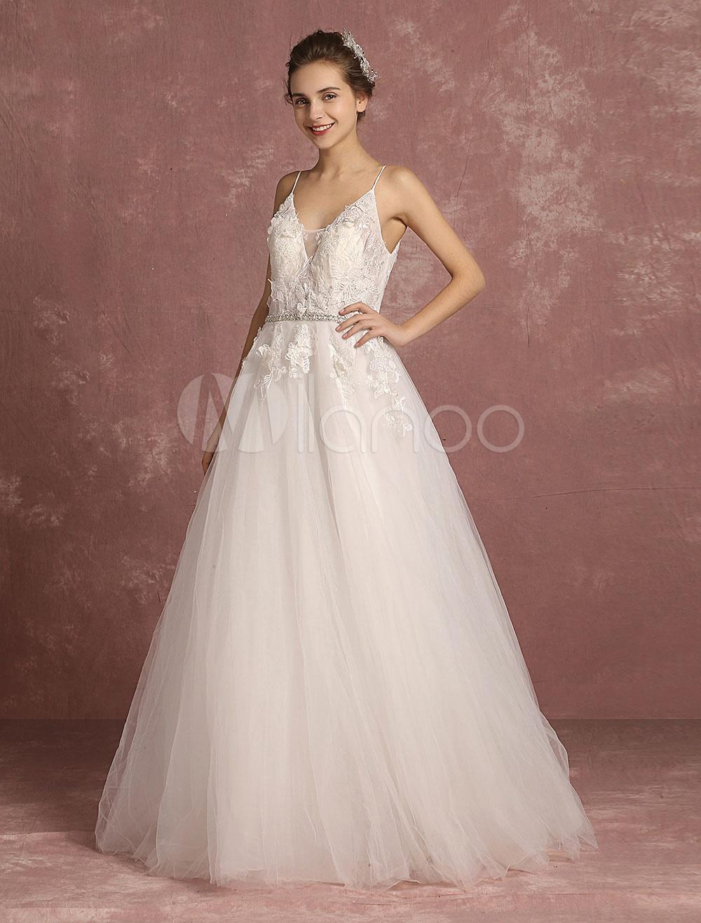 Summer Wedding Dresses 2018 Boho Lace Flowers Applique Tulle Bridal Gown A Line Beaded Sash Spaghetti Straps Floor Length Bridal Dress
