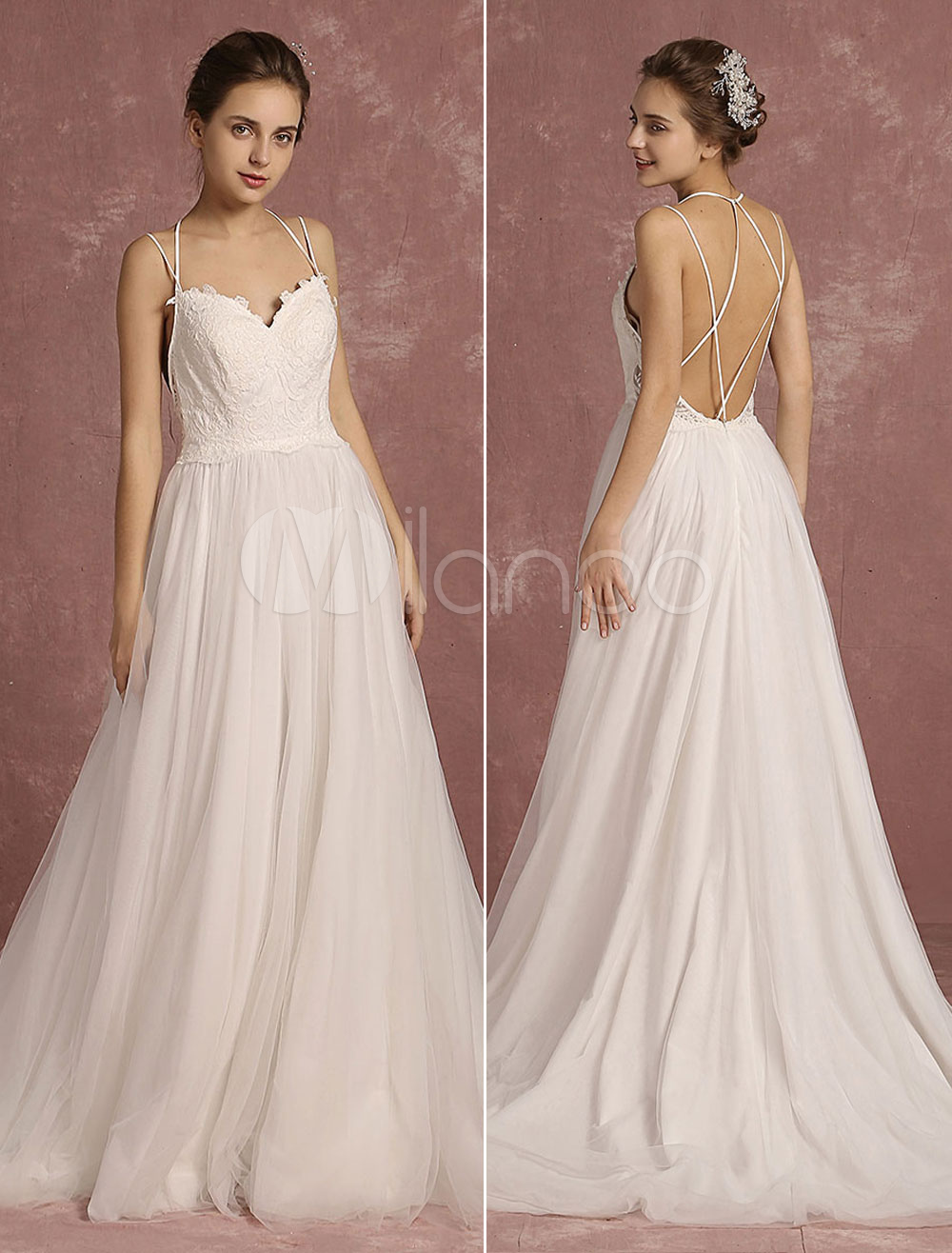 Buy Summer Wedding Dresses 2018 Boho Spaghetti Strap Sweetheart Sleeveless Bridal Gown A Line Criss Cross Backless Bridal Dress With Train for $241.19 in Milanoo store