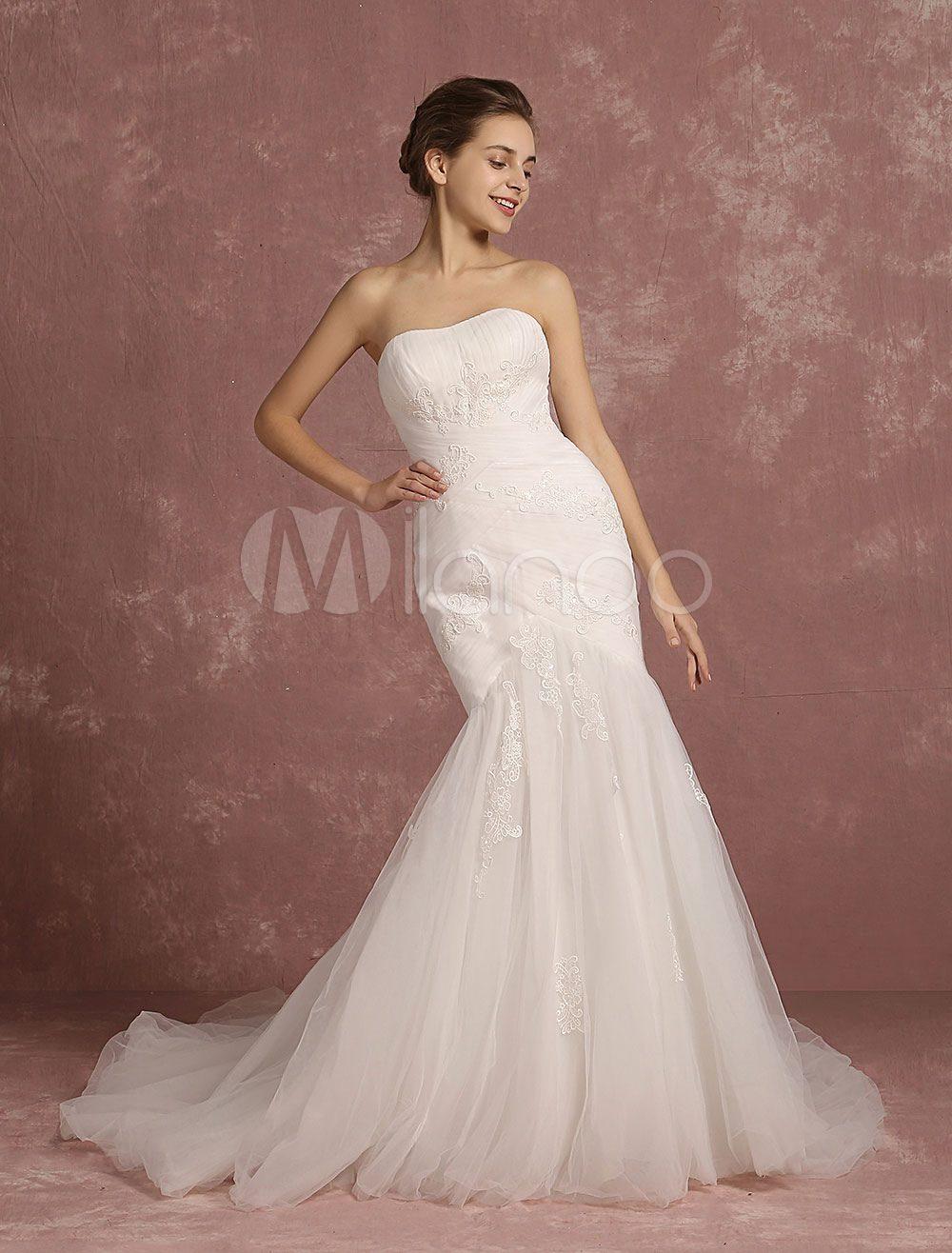 Buy Summer Wedding Dresses 2018 Tulle Lace Applique Mermaid Bridal Gown Ivory Sweetheart Strapless Sleeveless Cathedral Train Bridal Dress for $237.59 in Milanoo store