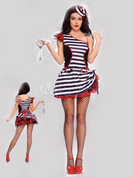 Buy Halloween Sexy Prisoner Costume Black One Shoulder Sleeveless Mini Dress Cosplay Costume Halloween for $37.71 in Milanoo store