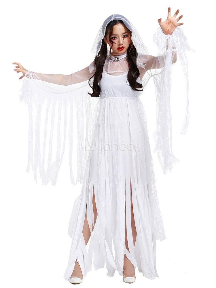 Buy Halloween Corpse Bride Costume White Women's Mummy Ghost Costume Halloween for $34.03 in Milanoo store