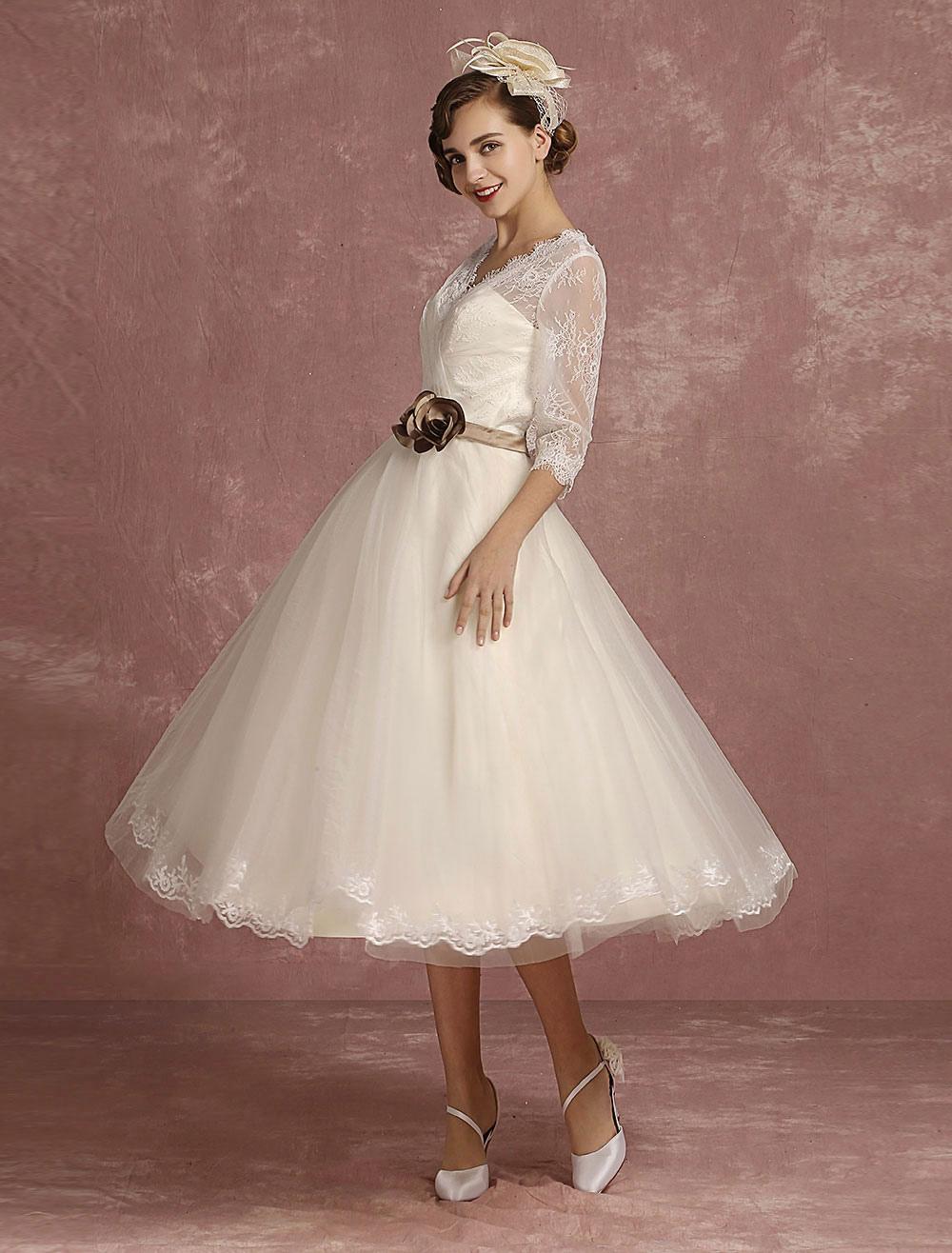 vintage wedding dress short lace tulle bridal dress half. Black Bedroom Furniture Sets. Home Design Ideas