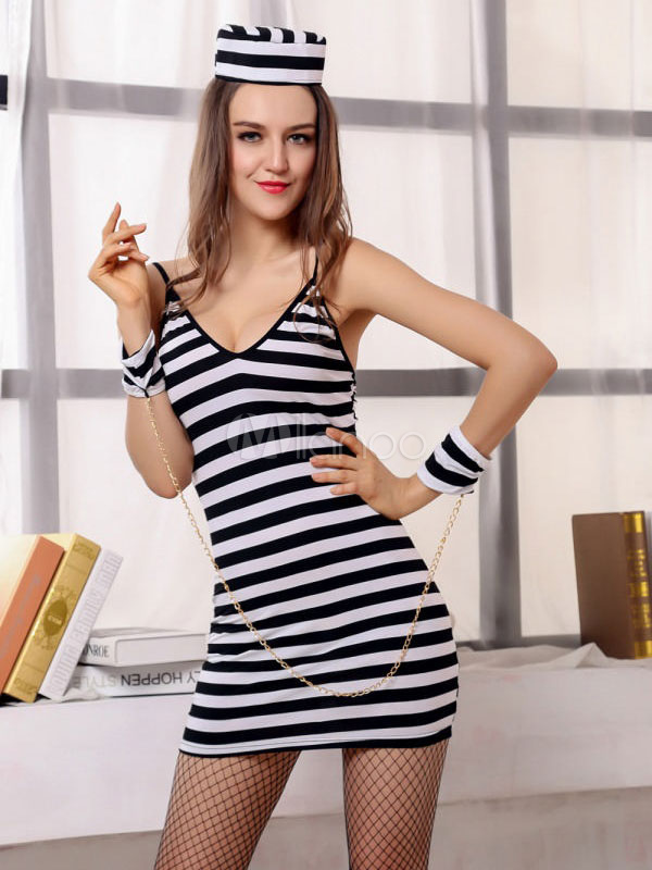 Buy Halloween Sexy Prisoner Costume Black And White Striped Short Dress Cosplay Costume Halloween for $17.99 in Milanoo store